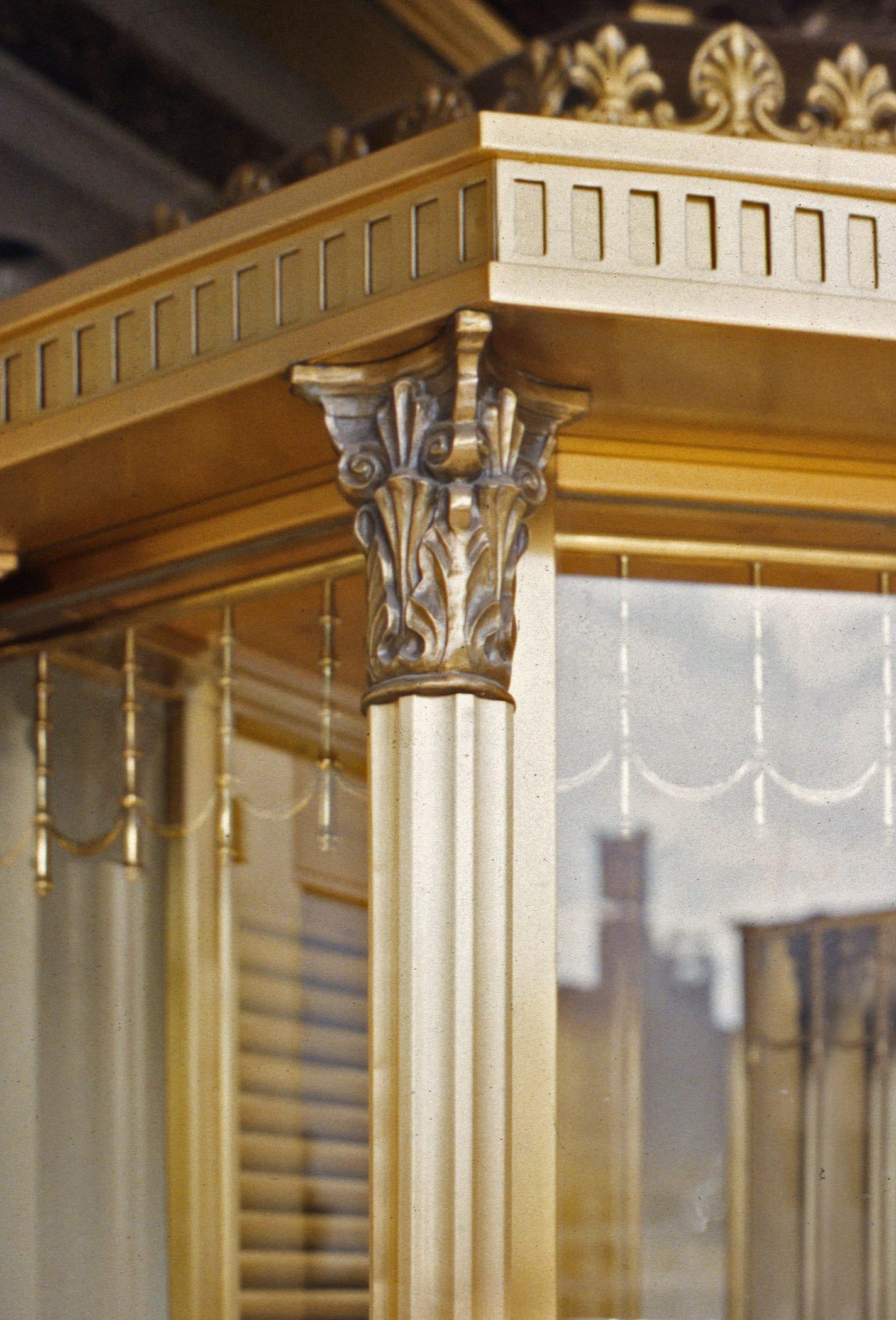 Detail of the cast bronze, brass and sheet Muntz Metal fabrication.