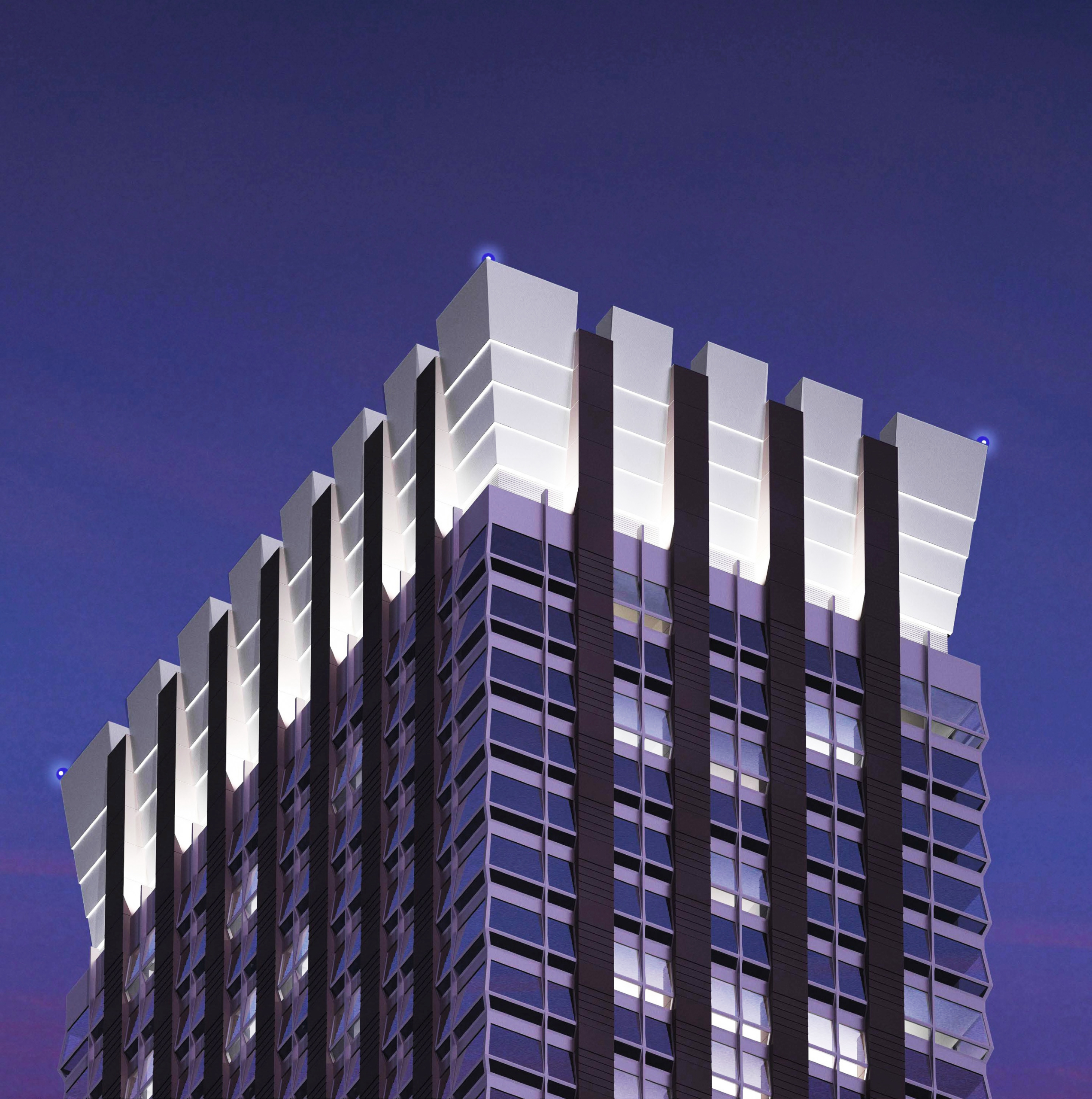 Architect's rendering of the high-rise design, a crown adornment of massive scale.