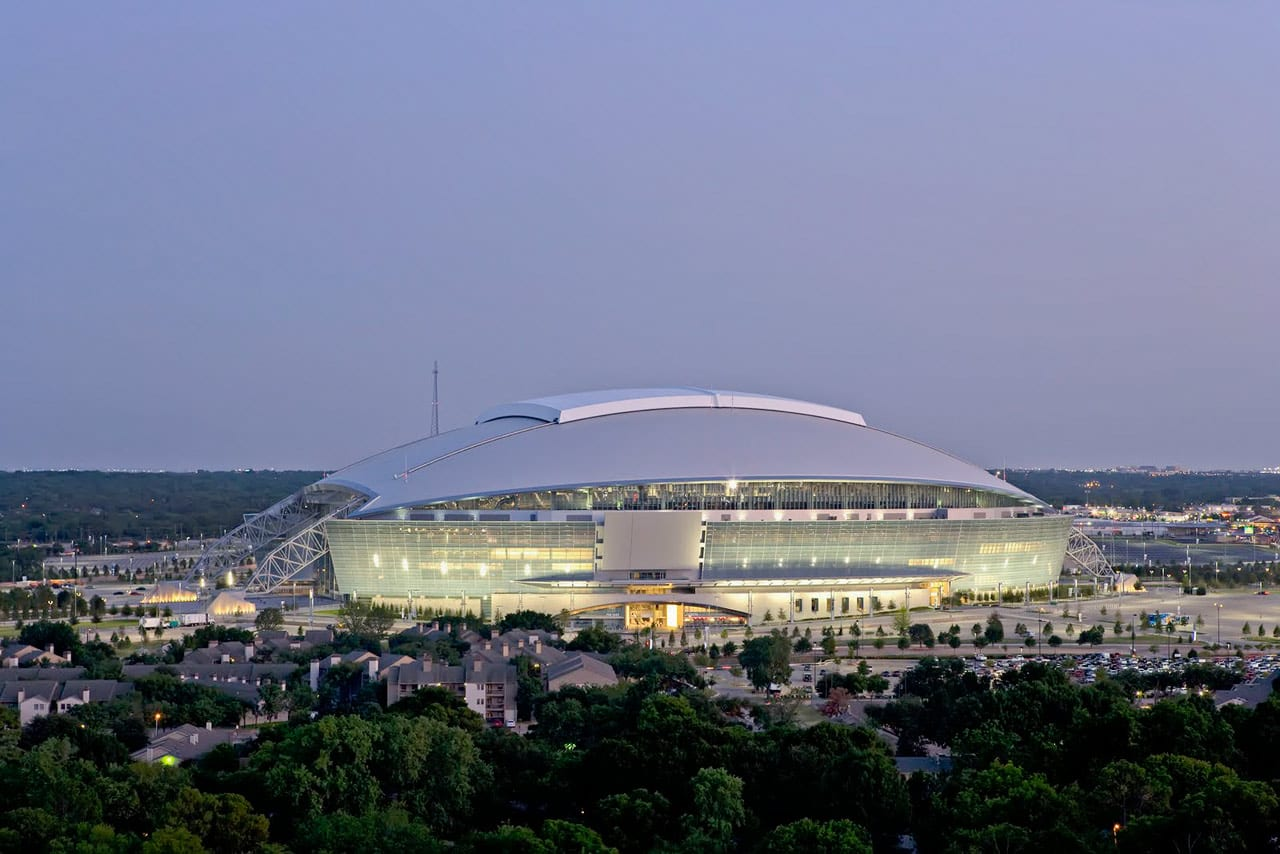 Aerial view of Cowboys Stadium.