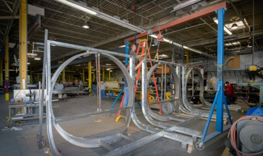 Metal fabricators at Zahner's shop manufacture the window systems for the New York City facade.