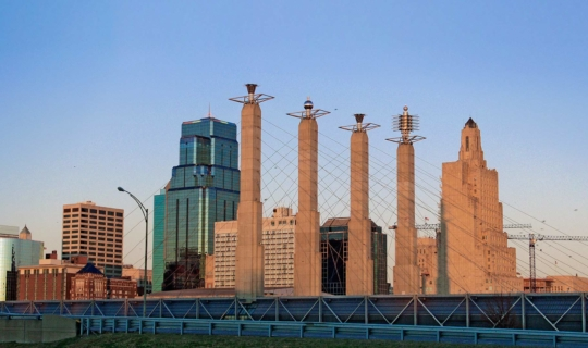Panoramic of the Bartle Hall Sky Stations in the Kansas City Skyline