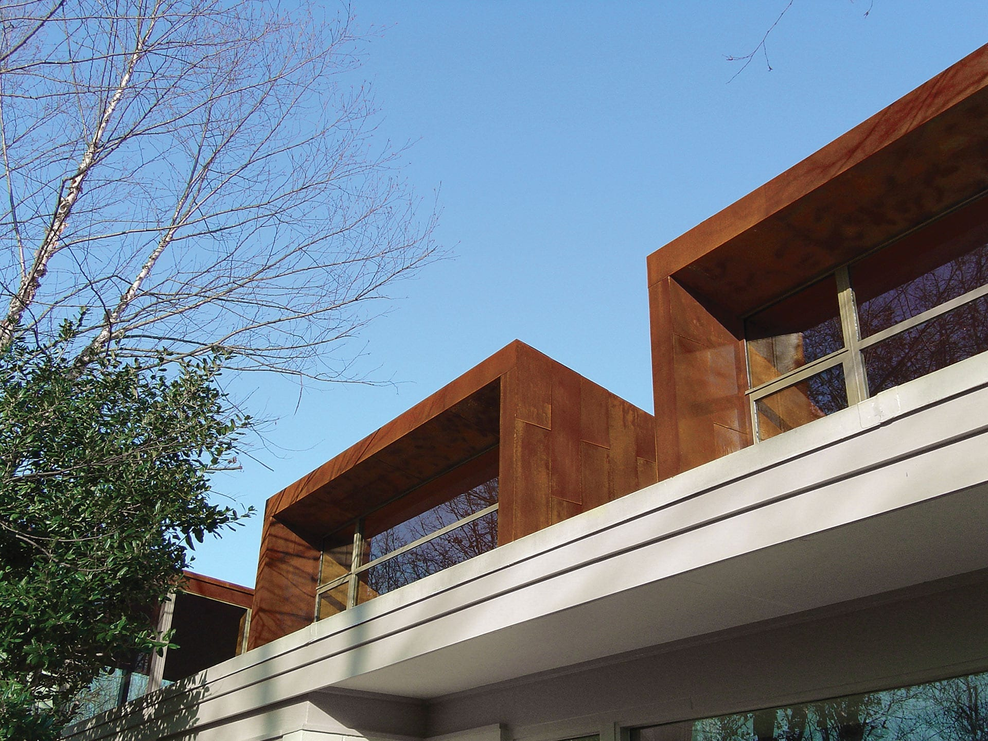 Details of the Solanum Steel exterior cladding on the Arkansas House.