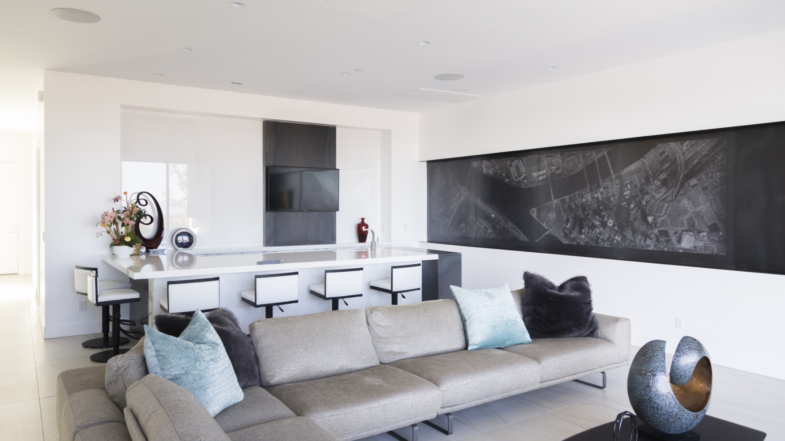 Interior view of the Ridges Residence artwall.