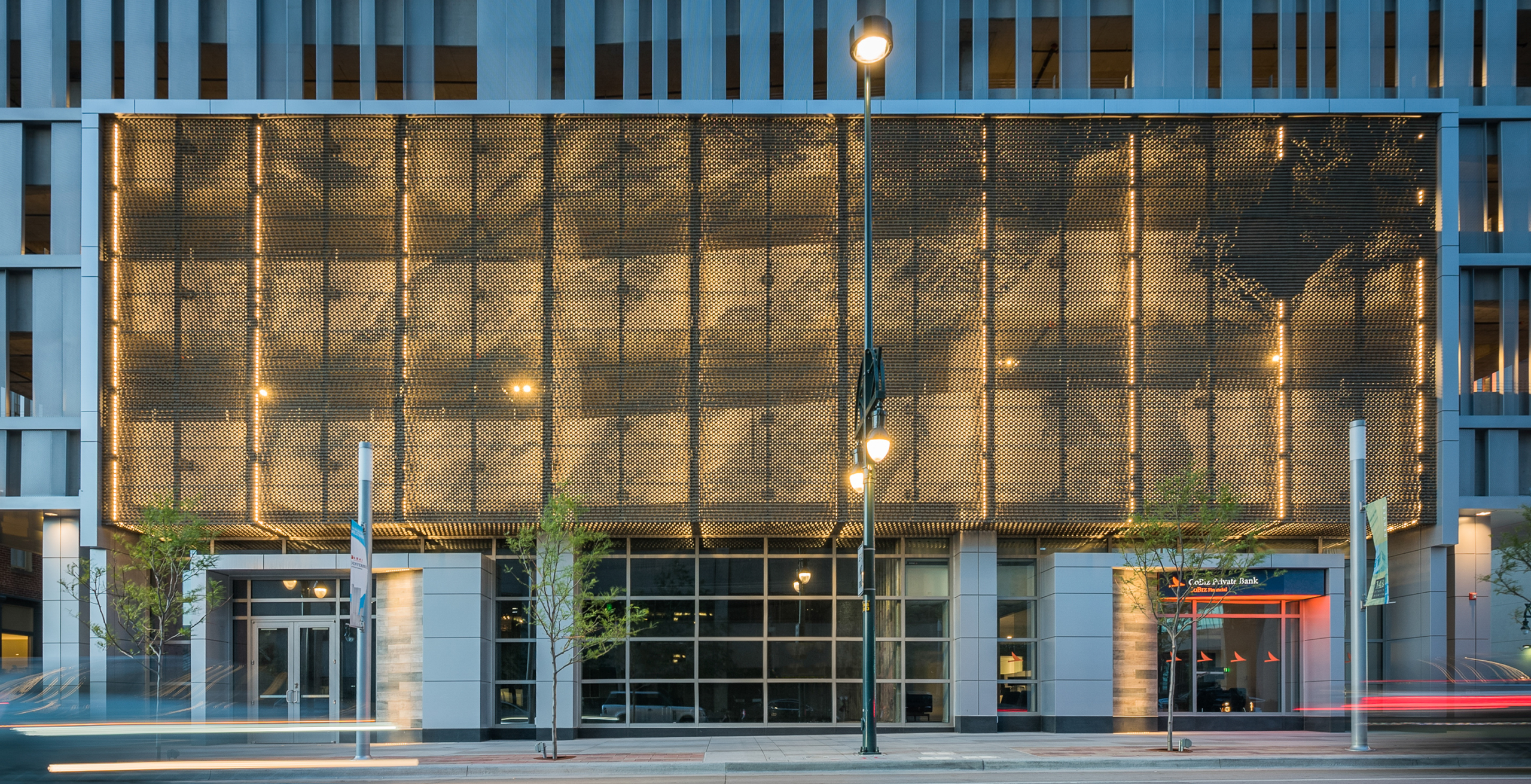 Elevation showing the perforated metal soffit entrance at the 1401 Lawrence building.