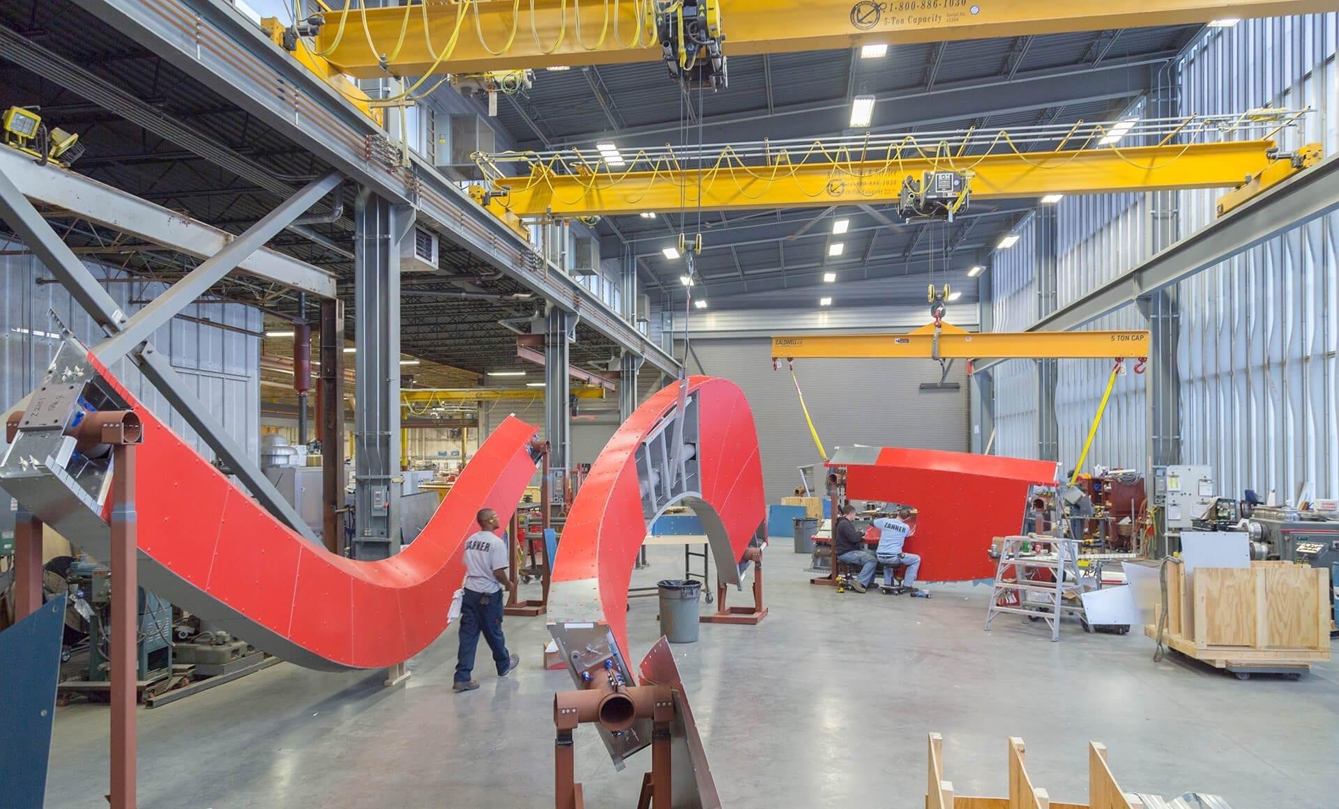 Zahner fabricators create massive ZEPPS panel assemblies in the Kansas City shop.