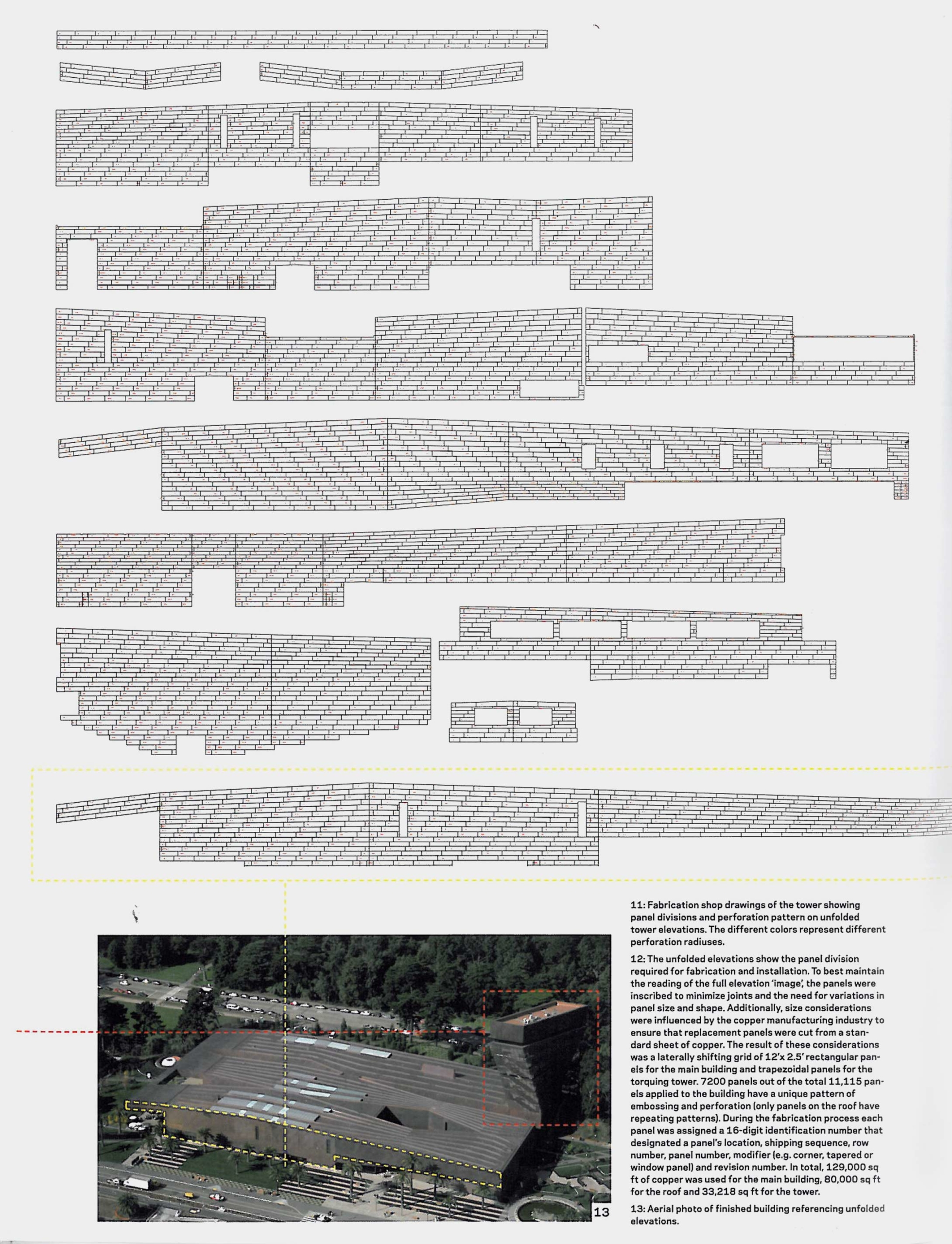 Elevation diagram showing all of the panels for the de Young Museum's dimpled facade.