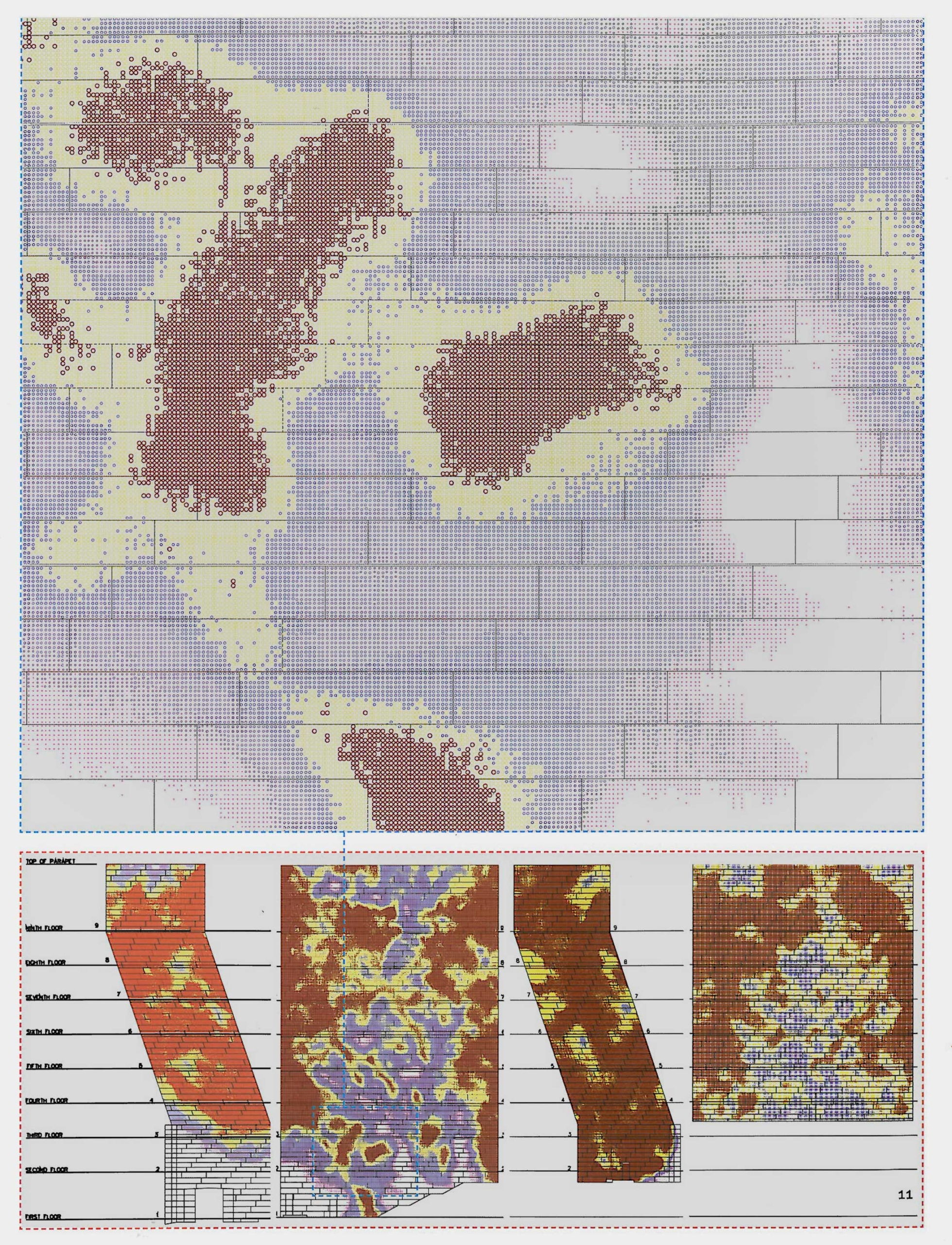 Heat maps of the perforations required for ventilation on the museum's facade.