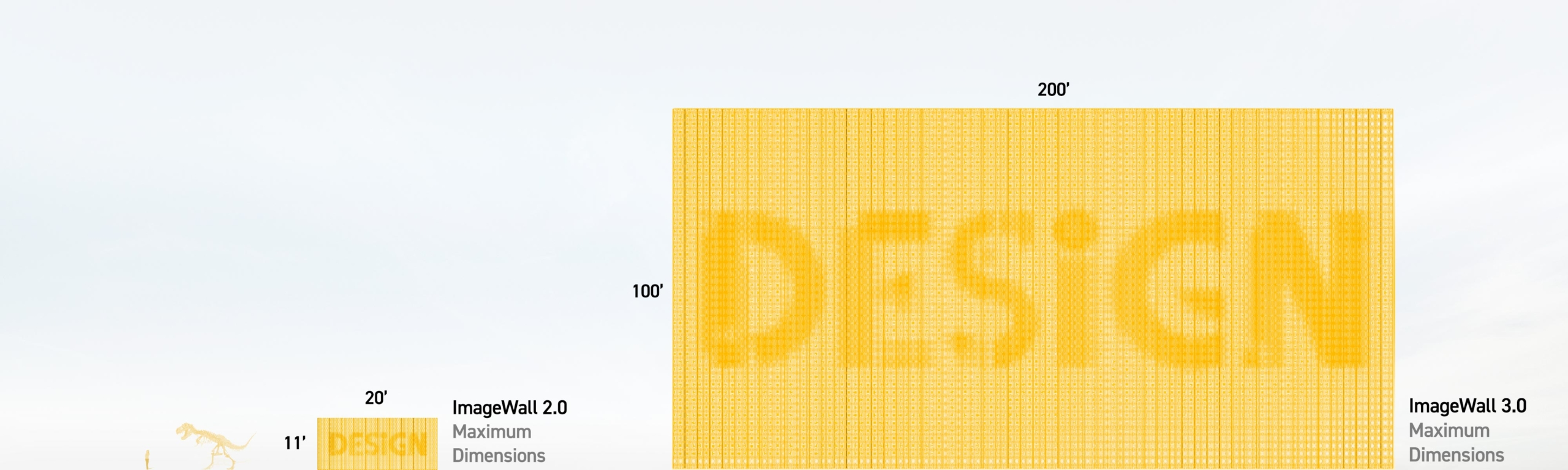 Designers using ImageWall can now preview at scales up to 200' long.