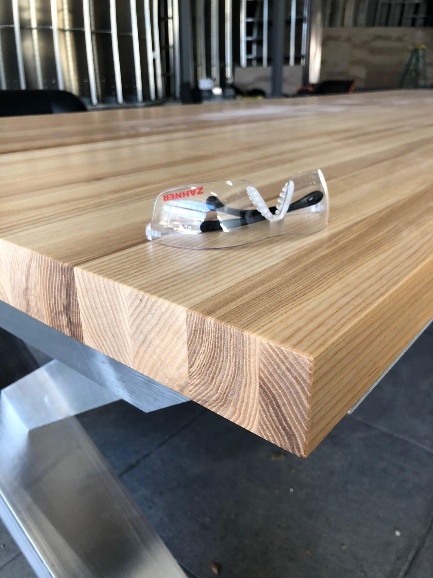 Custom wooden table detail