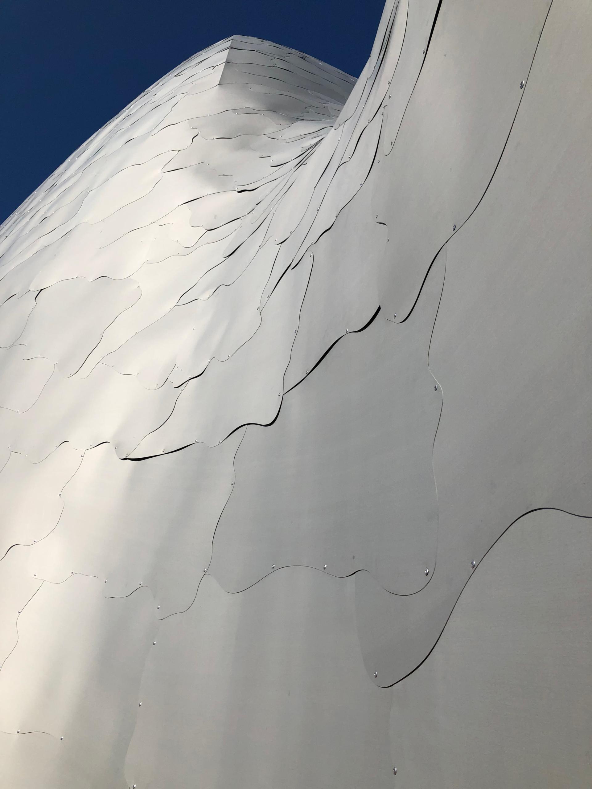 Nine unique shapes comprise the zinc skin.