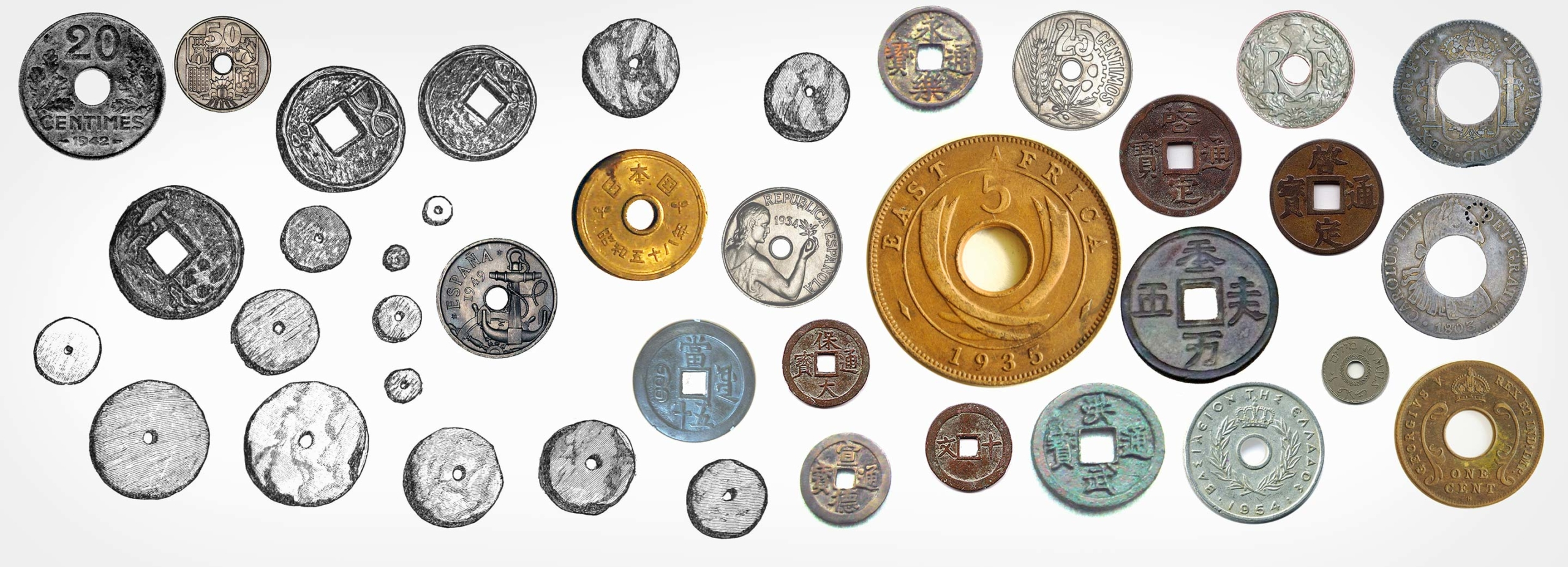 Coins and historic sketches of coined currency with holes.