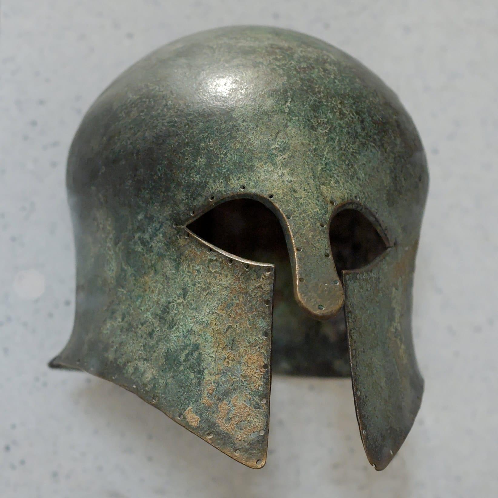 Bronze helmet, Rome; 500-525 CE.