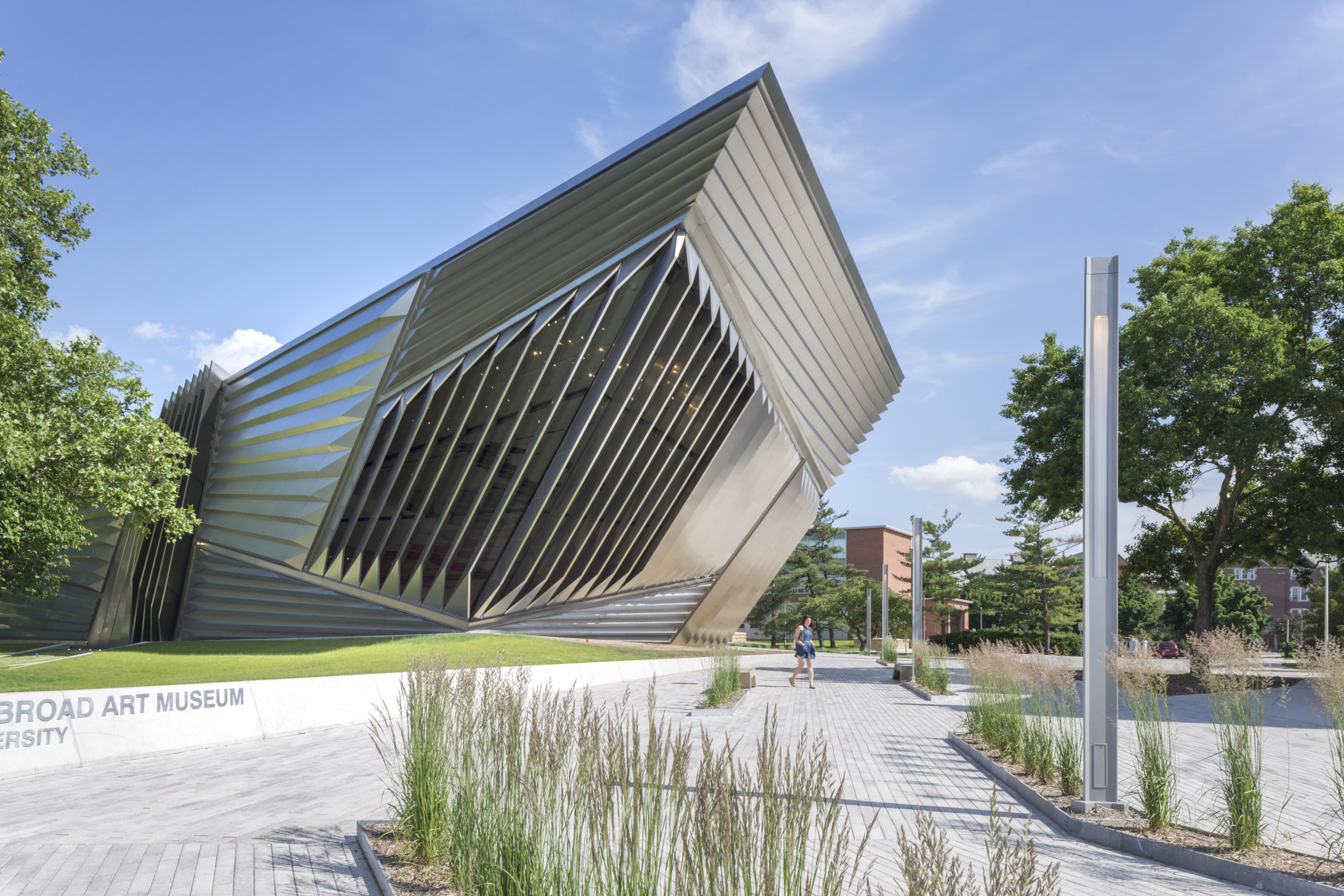 Entrance to the Eli and Edythe Broad Art Museum in East Lansing, Michigan.