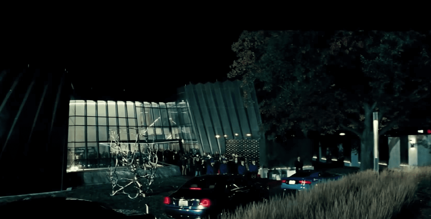 Film still from Batman Vs. Superman featuring The Eli and Edythe Broad Art Museum as Lex Luthor's home.