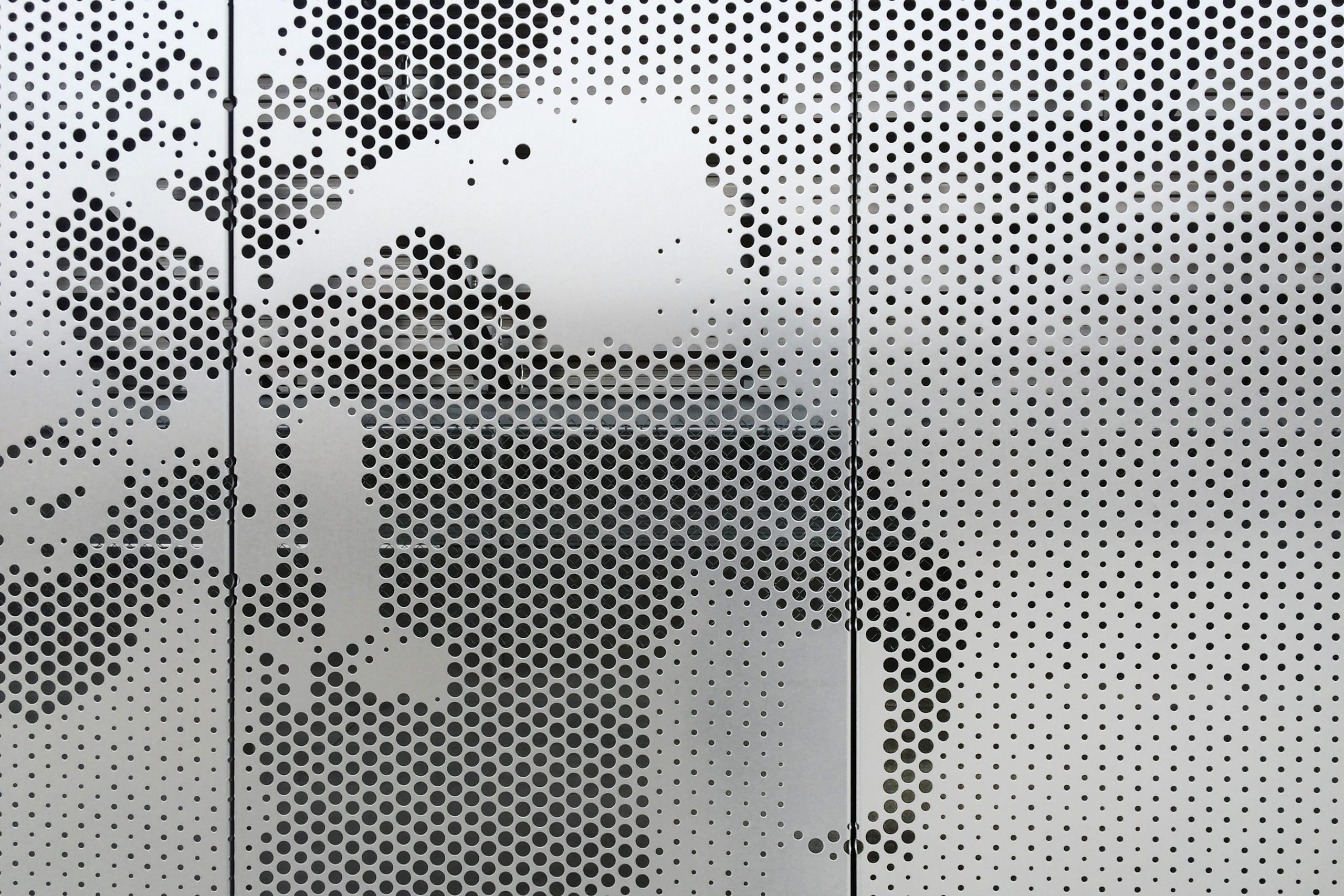 Detail of the Okie Blan<br /> chard Sports Complex perforated stainless steel.