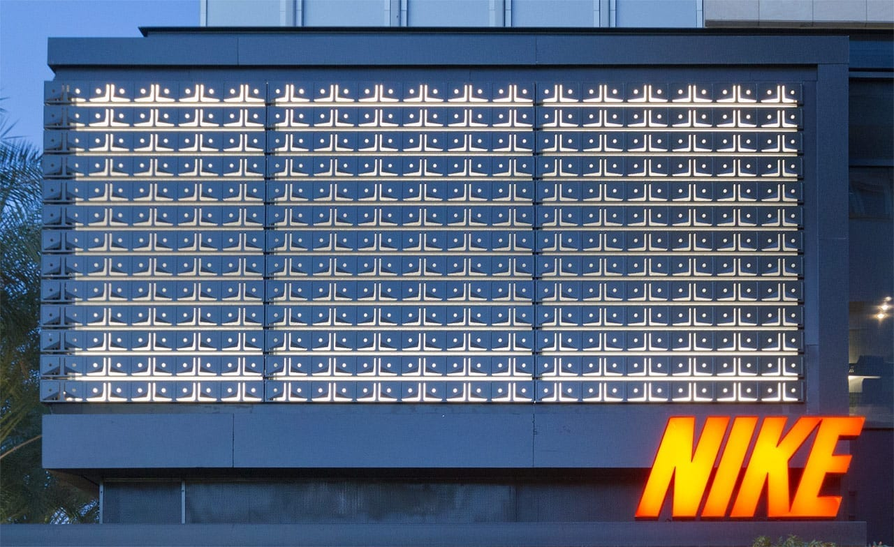 Custom aluminum facade for Nike flagship store.
