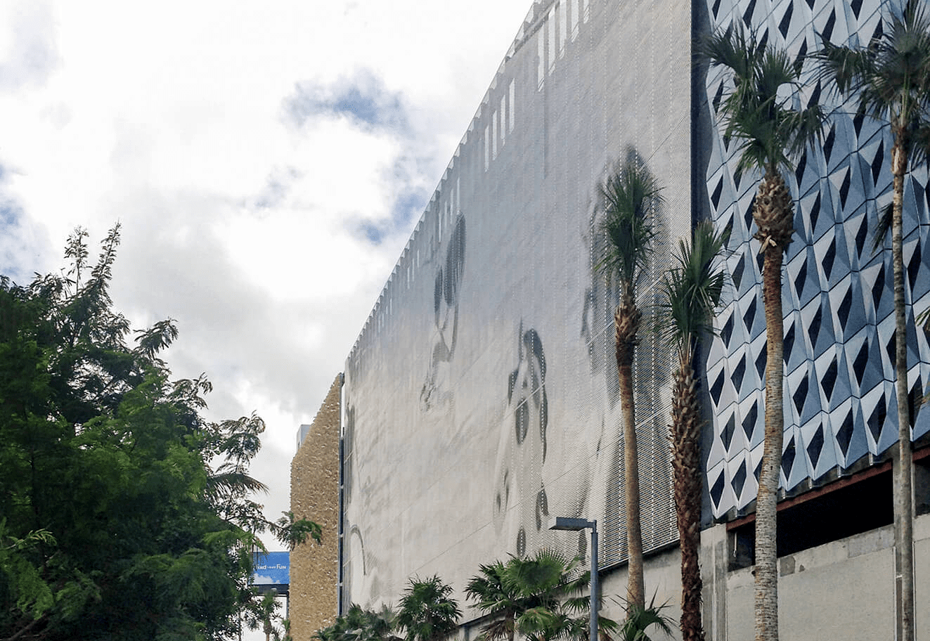 City View Garage facade designed by artist John Baldessari using Zahner Angel Hair® Stainless Steel.