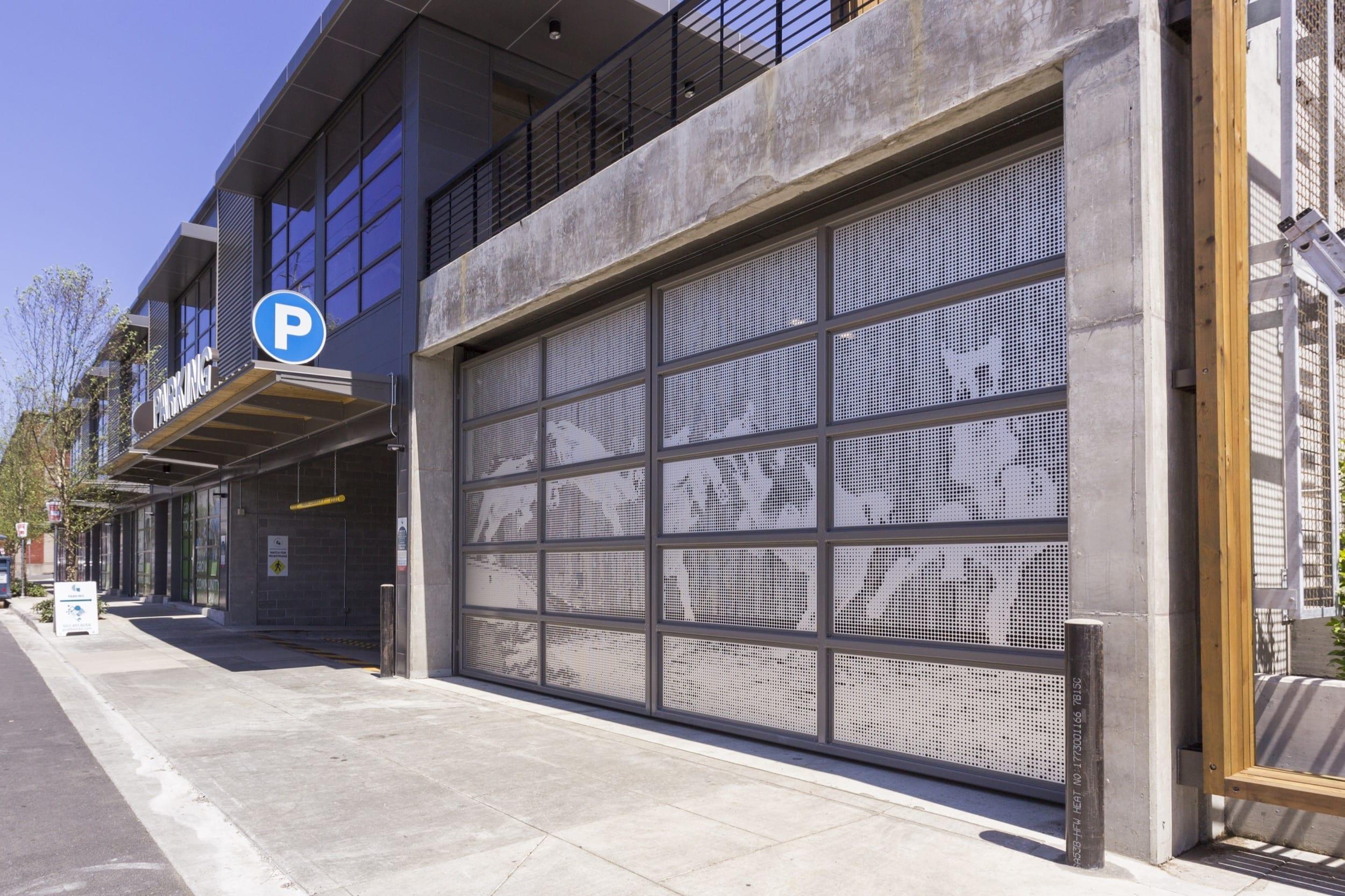 Exterior view of ImageWall applied to hinged garage door.