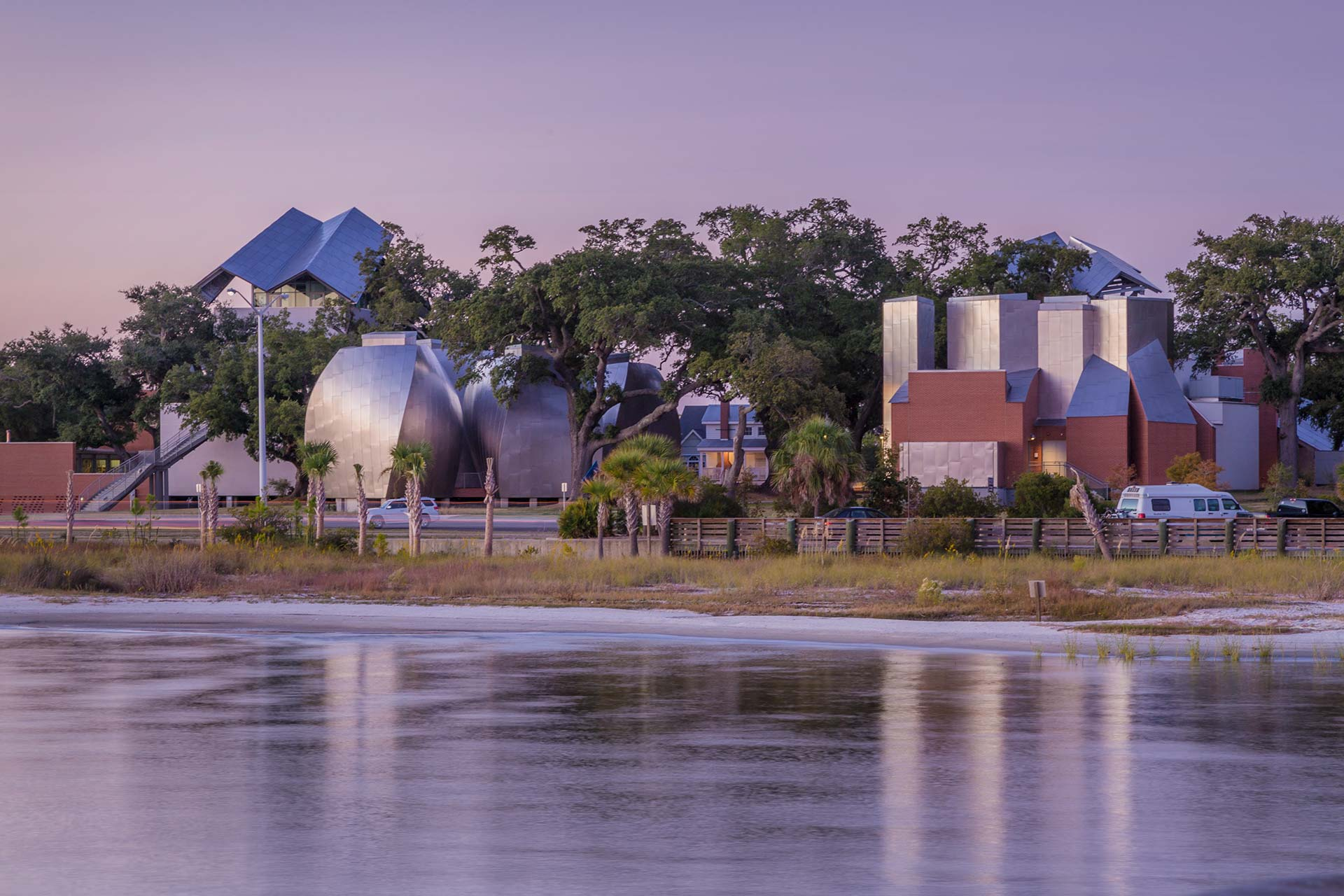 Ohr-O'Keefe Museum of Art, photographed across the water of the Atlantic Ocean Gulf in Mississippi.