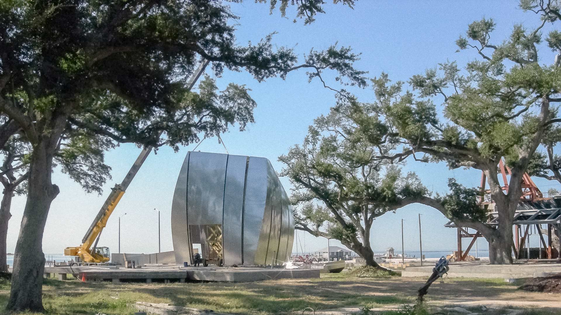 Gehry's Pods at the Ohr-O'Keefe Museum of Art, during construction.