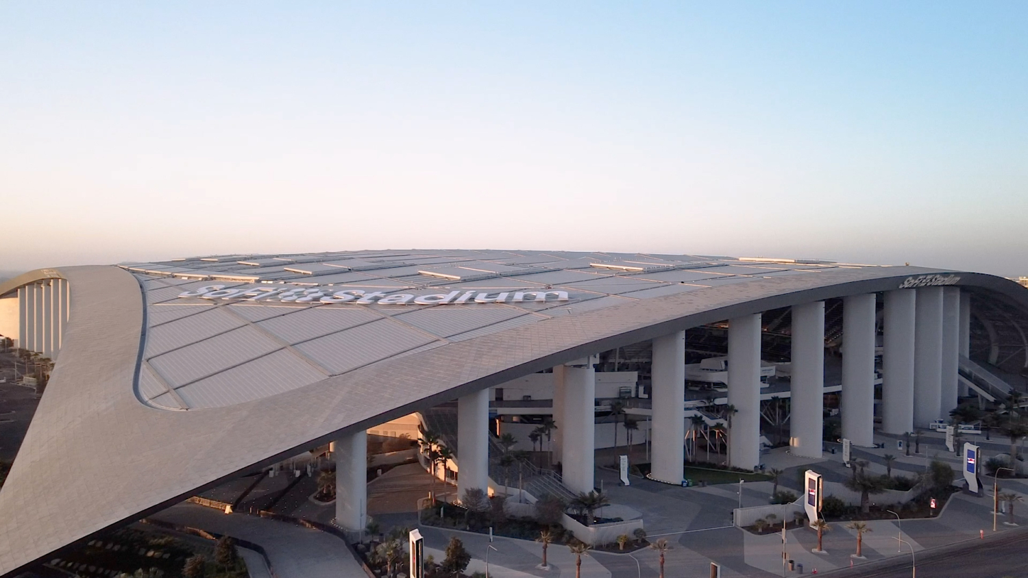 The exclusive Frost White anodized aluminum finish was developed specially to stand out against the blue sky, but also to have a matte finish so as not to create dangerous glare for air traffic flying directly overhead to and from the Los Angeles International Airport.