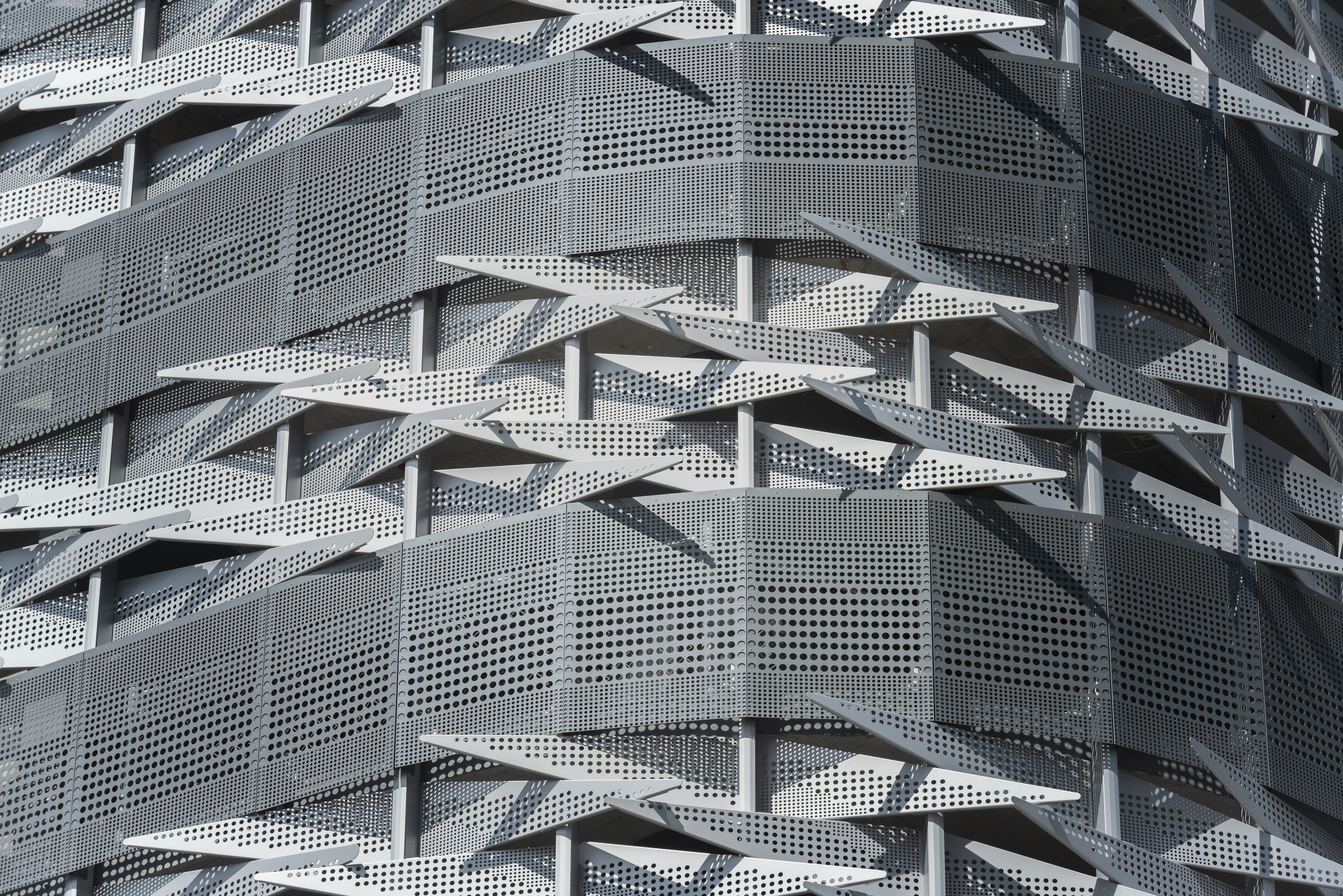 Closeup of the custom metal facade for the Brickell Flatiron Parking Garage, produced by Zahner.
