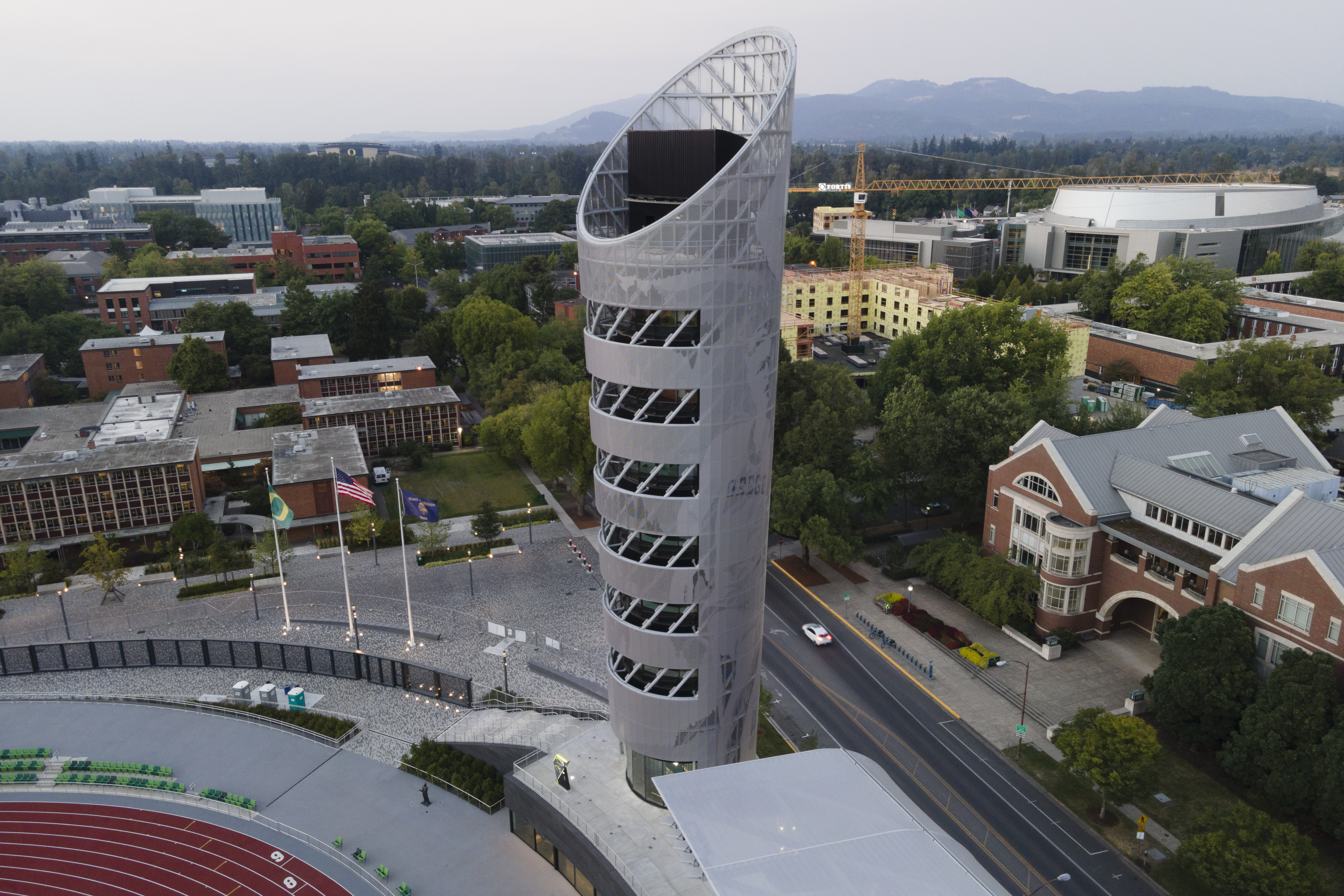 The 10-story Hayward Tower features an observation deck and multiple viewing areas.