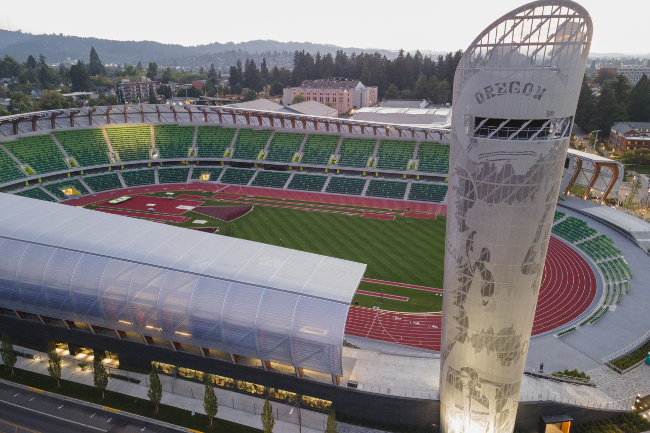 Hayward Field Tower pays tribute to the University of Oregon legacy with graphics depicting five Oregon track and field icons