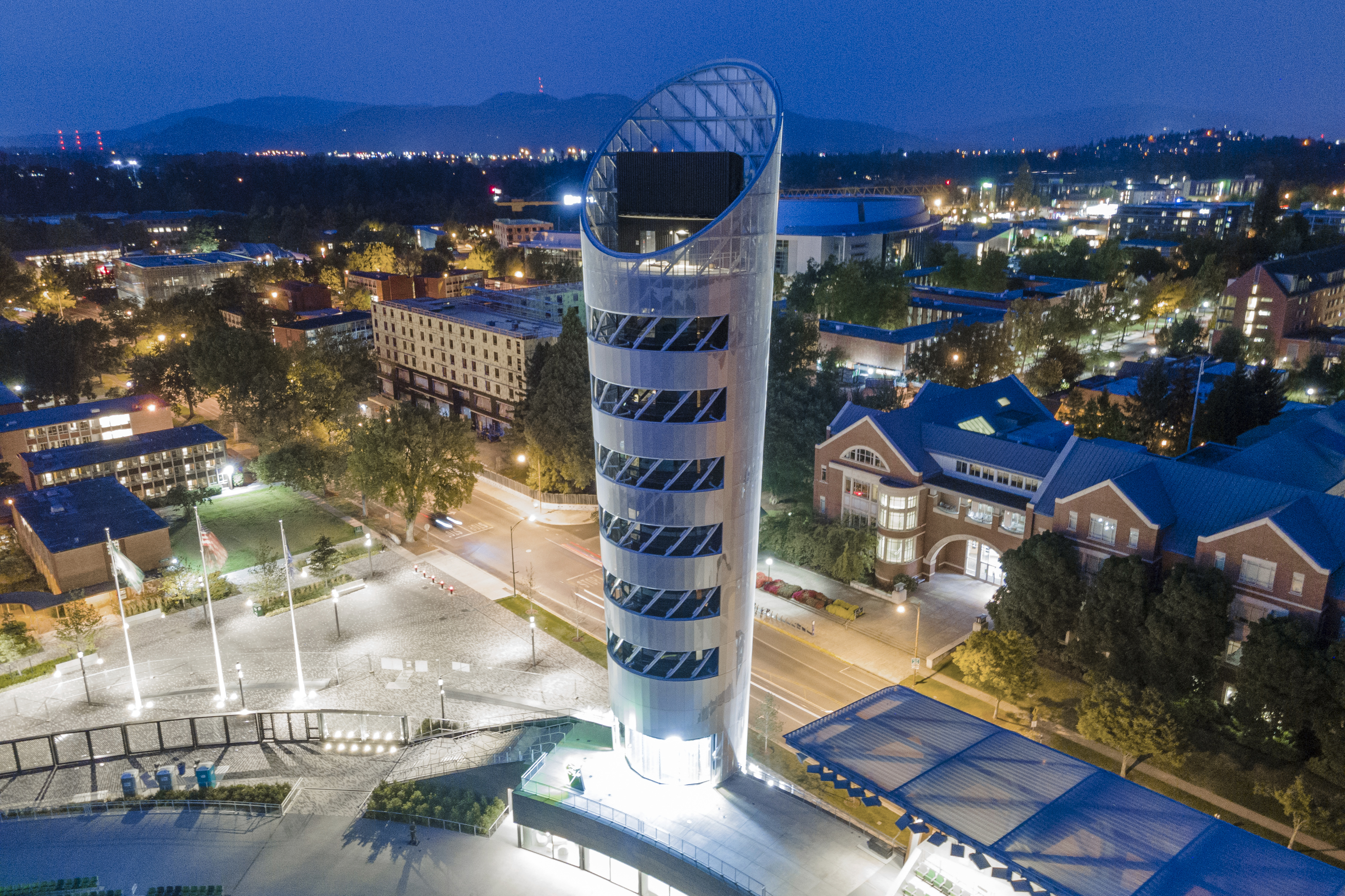 Night view of the 10-story Hayward Field Tower.