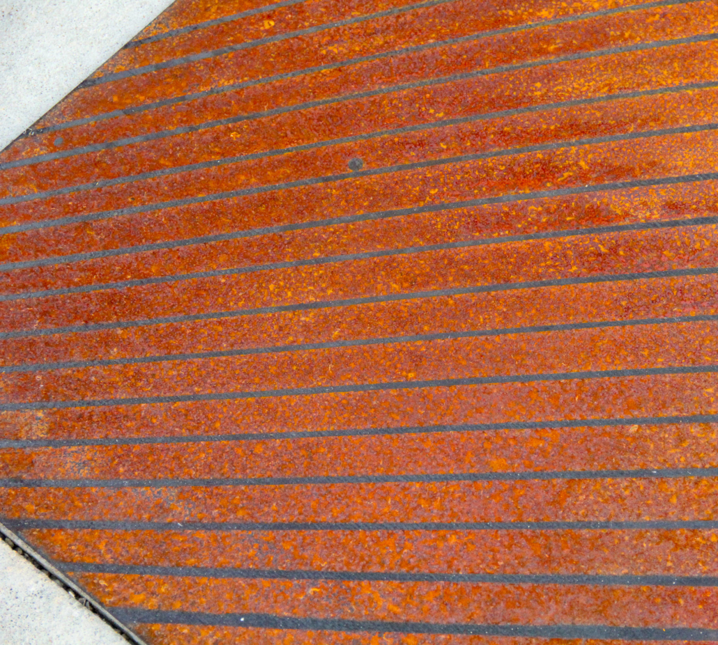PATTERNED PATINA ON WEATHERING STEEL PANEL