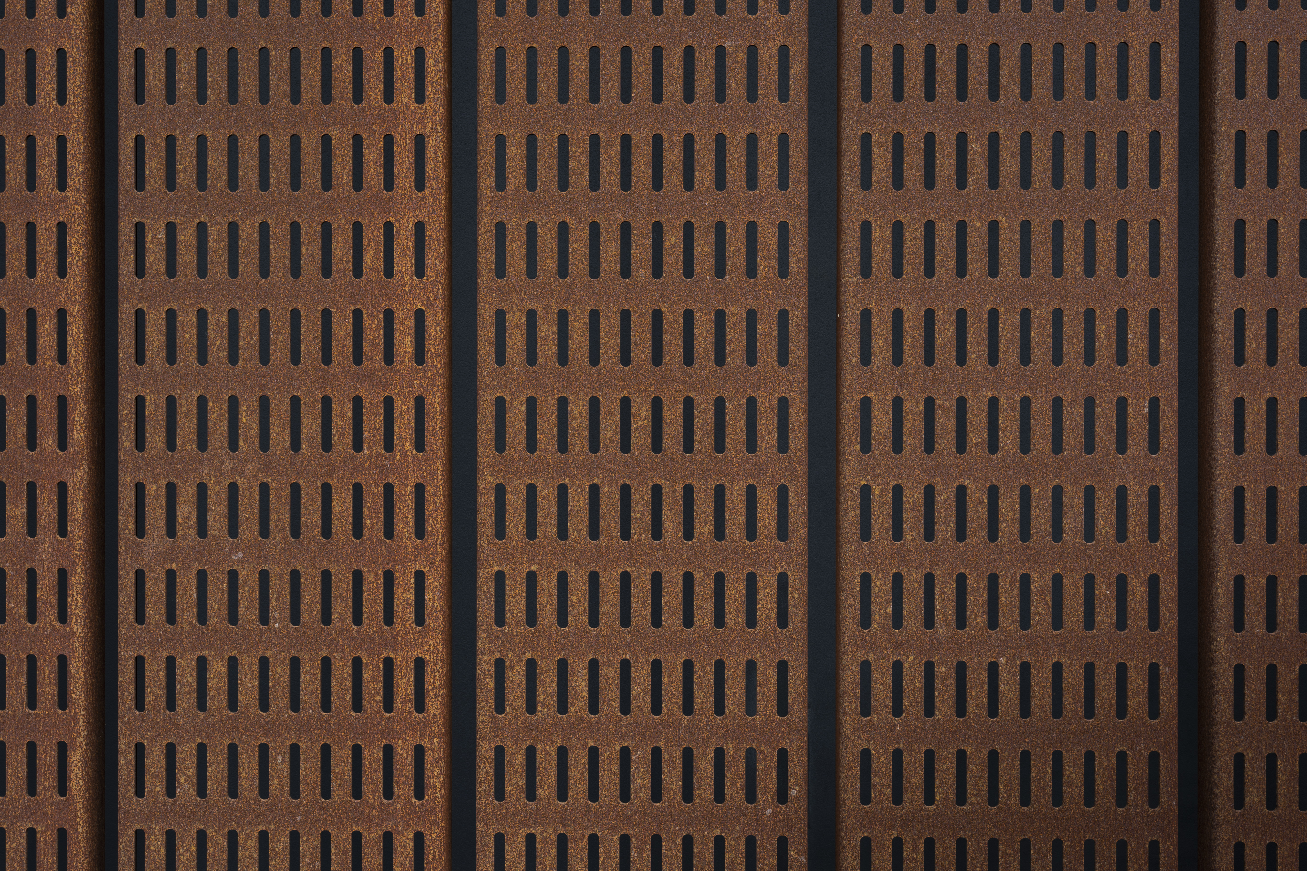Custom perforated Solanum™ Weathering Steel by Zahner®