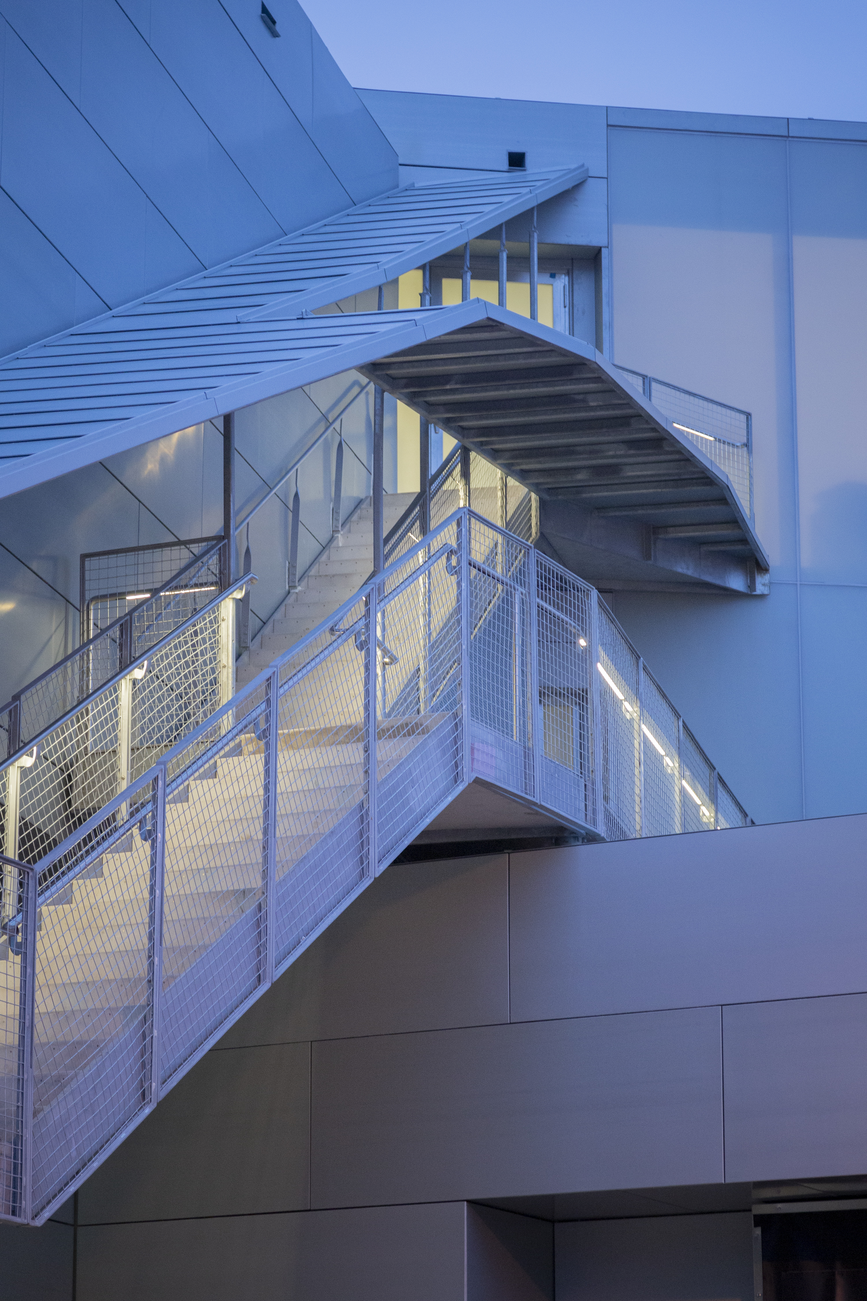 Zinc clad exterior walls and stair canopy