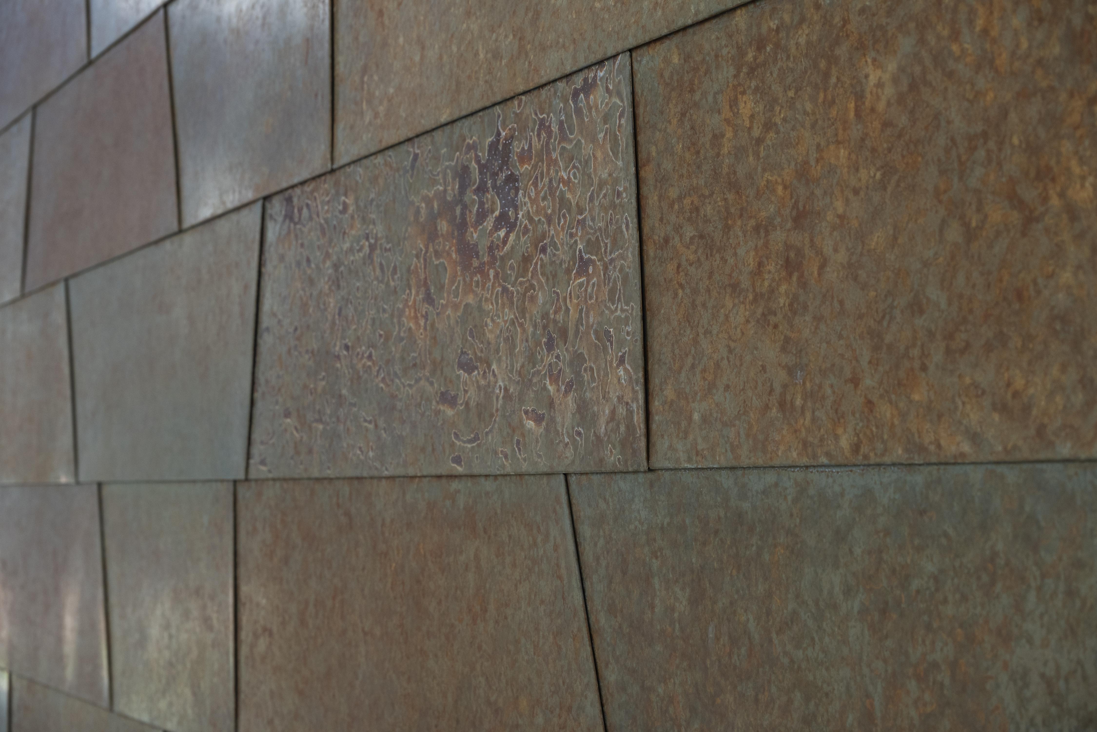 Closeup of Roano zinc panels.