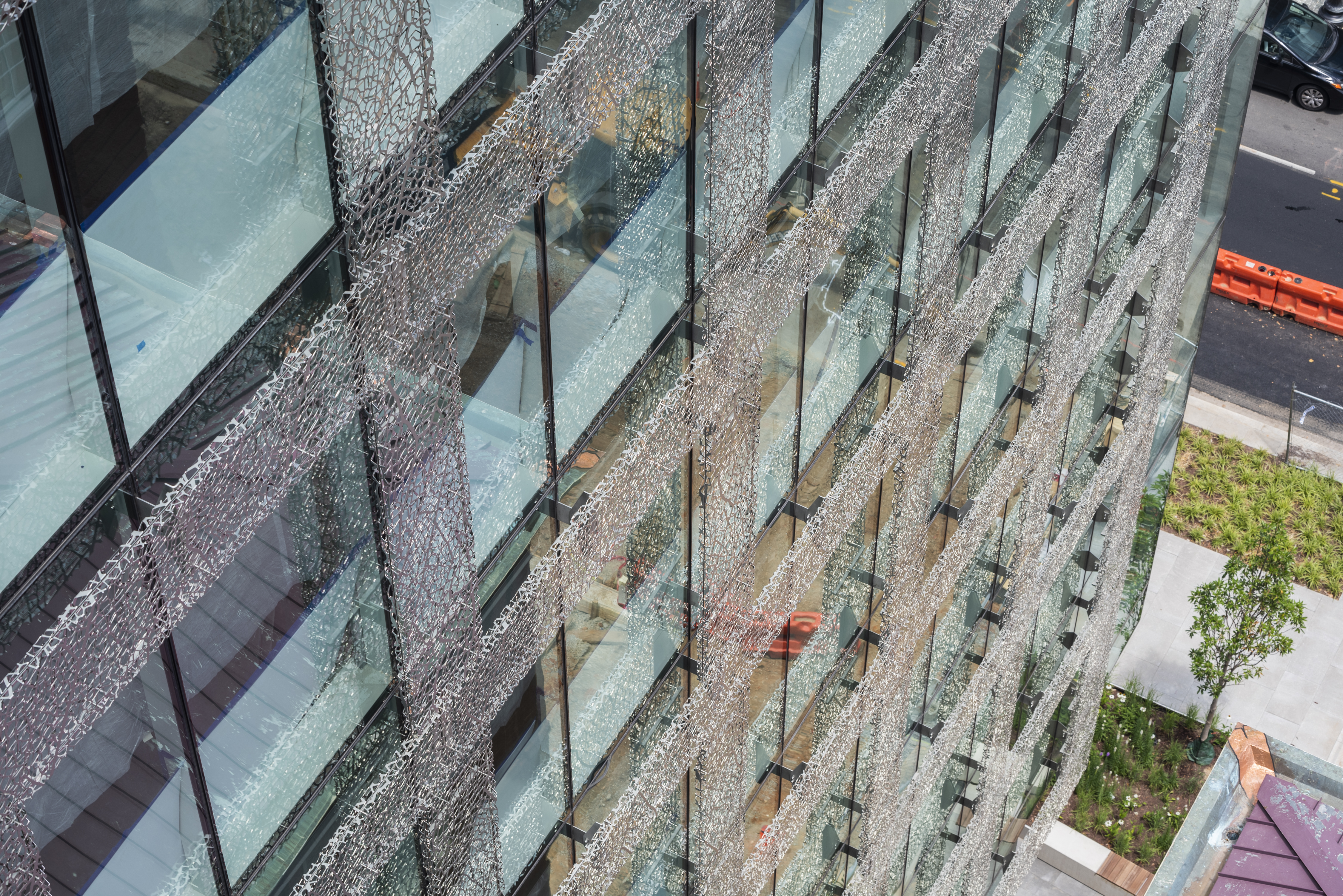 Drone perspective of the 2100 L Street facade.