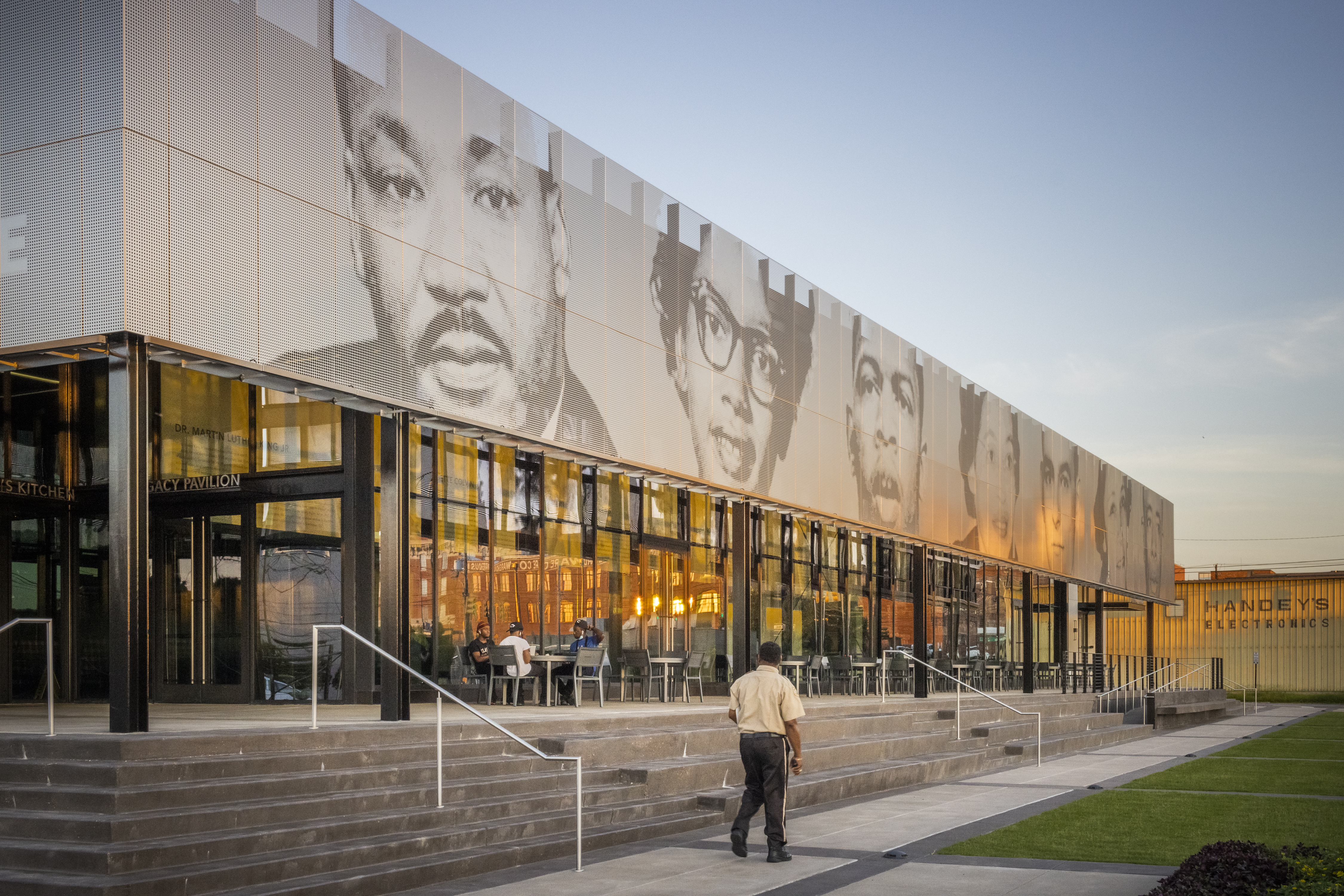 Zahner ImageWall was used to create the custom perforated facade that clads the awning of the EJI Legacy Pavilion.